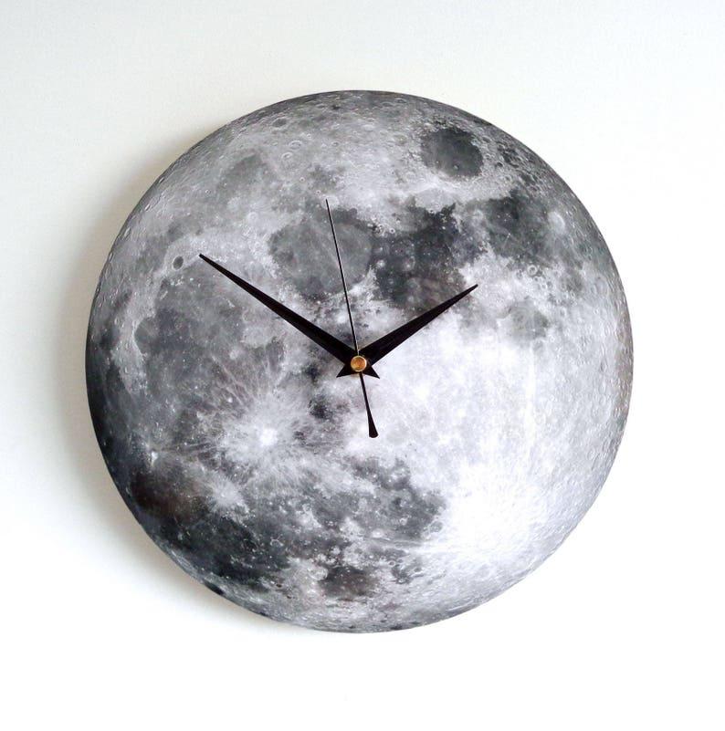 Moon Wall Clock  Decoupage Photo Clock  Space Clock  Black image 0