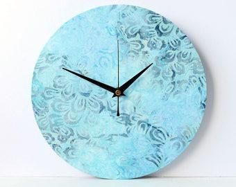 Blue Wall Clock - Decoupage Fabric Wall Clock - Recycled 10'' Vinyl Record - Abstract Fabric Clock - Batik Fabric Clock