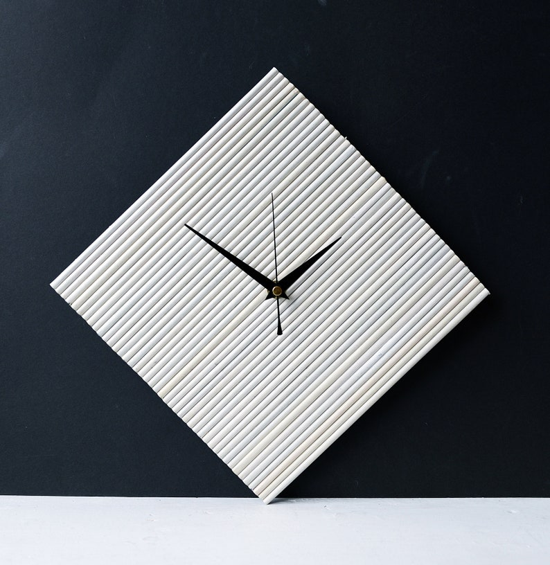 510b9c18ce392 Newspaper Wall Clock White Clock Upcycled Recycled