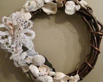 Christmas Sea Shell Wreath Heavy Grape Vine/One of a Kind
