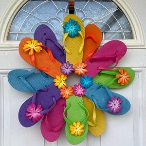 Beautiful Happy Easter Flip Flop Wreath Wall Door Decor Beach Ocean Unique Gift Summer Fun Florida Patio