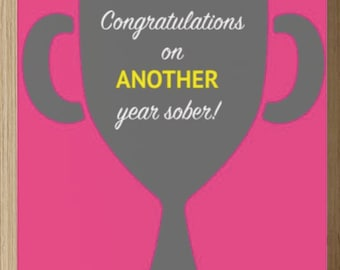 Sober Anniversary Card - Congratulations on Another Year Sober (Trophy)