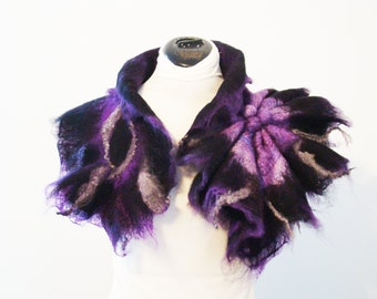 black collar,black necklace,gift idea,unique wool scarf,unique collar,art to wear Wearable Art,Fairy Collar Pixie Costume Accessory