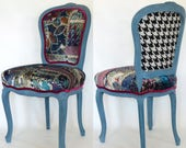 French Boho Chair Louis XV Blue