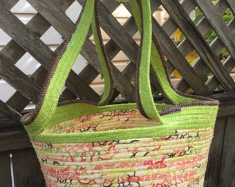 Yellow Market Basket with Green Trim