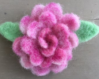 Pink Variegated Wool Felted Rose Pin