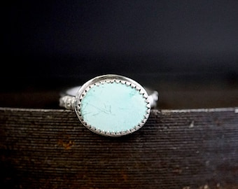 Natural Turquoise Kingman Blue Green Sterling Ring Size 6