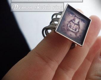 demon ring, sketchart ring, monster ring, wire ring,