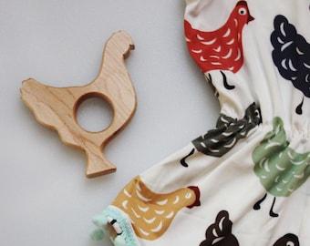 Wooden Chicken Teether | Chicken Teether | Hen Teether | Chicken Pacifier Clip