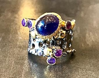 Sterling Silver  sapphire  amethyst artisan Ring 5.5 Handmade Jewelry
