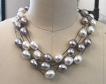 Poem34 Valentina 3 in 1 Leather Cultured Pearls Aquamarine necklace