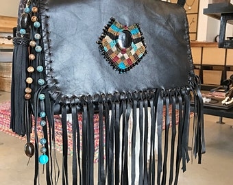 Bohemian fringed black onyx bag crossbody purse  Handmade handcrafted