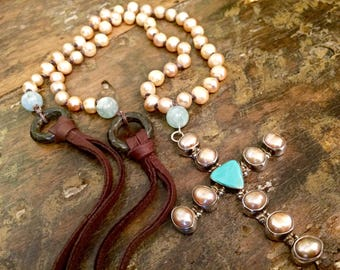 Pink Pearls and Aquamarine  long Leather  Heirloom  Large Cross Necklace