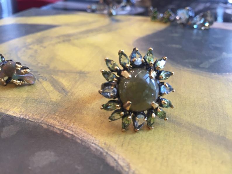 Handmade Artisan Studio 925  sterling Silver natural sphene peridot topaz flower statement Ring size 7