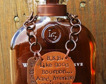 50th Birthday Tag Label.Copper.Fifty Years Old.Celebration.Bourbon Enthusiast Gift.Cocktail Bar.Handstamped.Booze.Alcohol.Barware.Man Cave