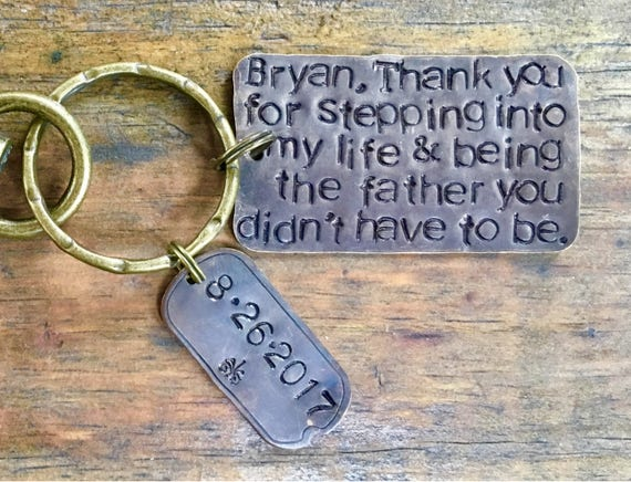 Special Stepdad Glass Top Key Chain Stepfather Personalized Father/'s Day Gift
