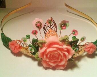 pink wild rose tiara head band.