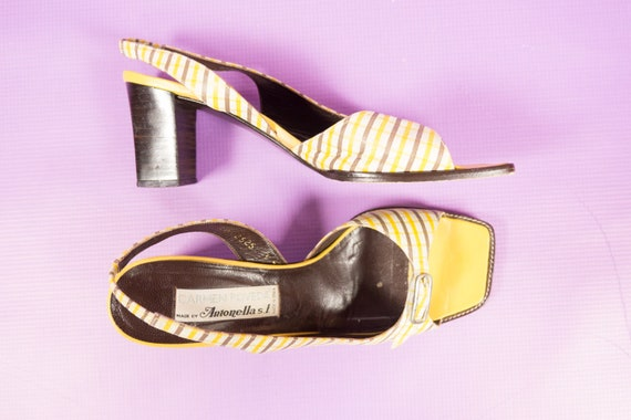 Toe 60s Heels Yellow Open Size Vintage Shoes ~ Retro Womens Leather Wood Pump 90s 9 Heel Size 9 Stacked Slingback Plaid 5 Inspired 6Cnqxzw885