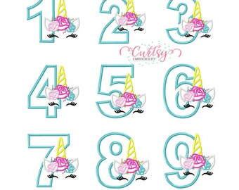 Birthday Unicorn Applique / Unicorn Face Embroidery / Unicorn Eyelashes / Unicorn Applique / Unicorn Roses / Unicorn Birthday Set
