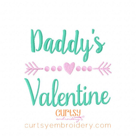 Valentine Embroidery Designs Daddys Valentine Embroidery Etsy