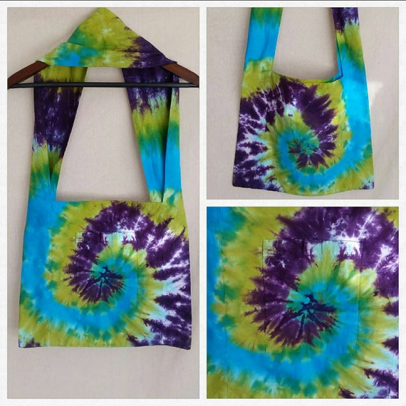 Hand Dyed Spiral Tie Dye Shoulder Bag in Turquoise, Deep Purple & Bright Green/Unisex Tie Dye Accessories/Eco-Friendly Dying