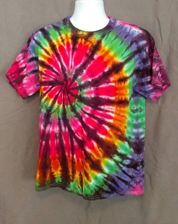 Hand Dyed Tie Dye T-Shirt/Adult T-Shirt/Black Backed Rainbow Design/ Short Sleeve/Unisex/Eco-Friendly Dying