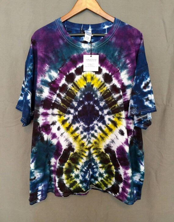 Tie Dye Shirt/Adult T-shirt/Short Sleeve/Yellow, Purple, Navy Blue & Teal Blue Design/Eco-Friendly Dying