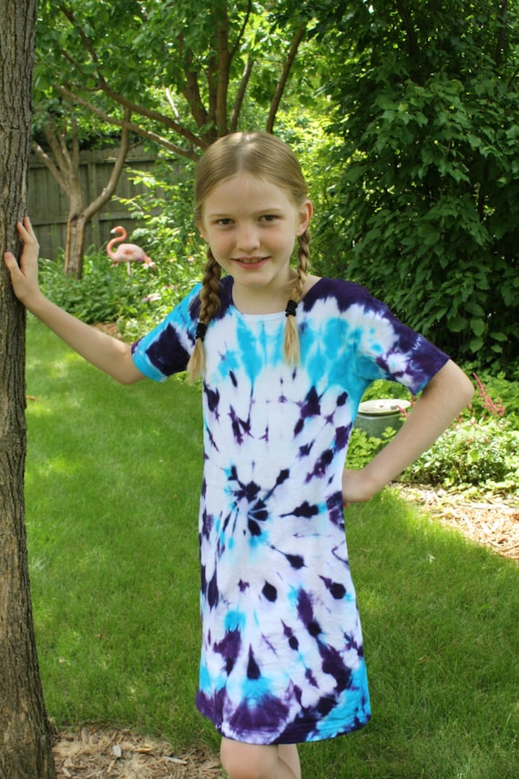 Tie Dye Dress/Girls Dress/Short Sleeve/Purple & Blue Design/Eco-Friendly Dyeing