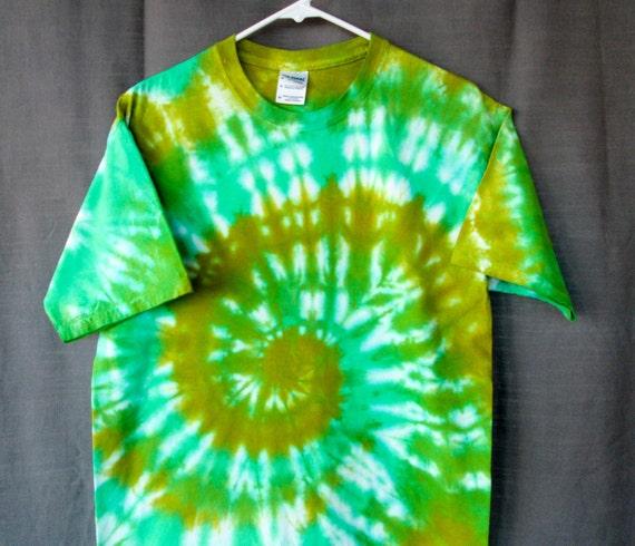 Tie Dye Shirt/Adult Tie Dye T-Shirt/Short Sleeve/Green Spiral Design/Eco-Friendly Dying