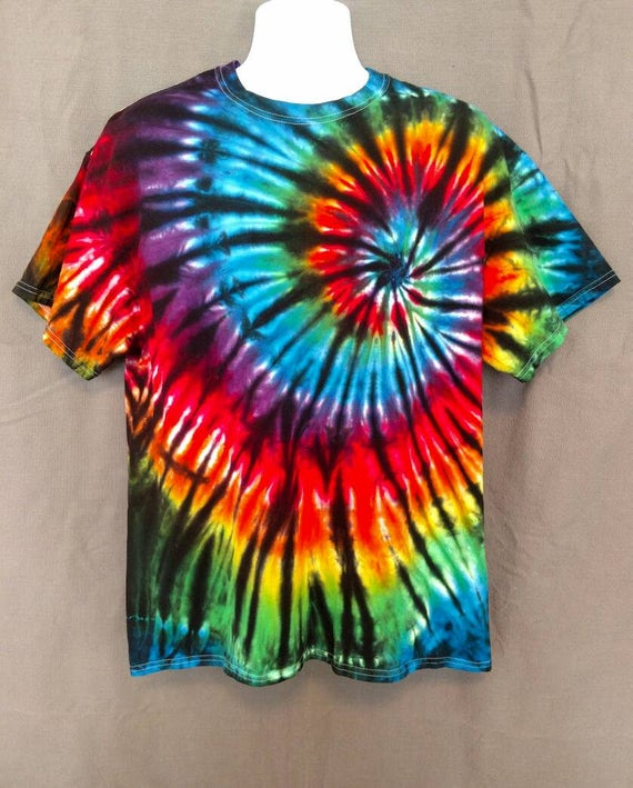 Black Backed Rainbow Spiral Tie Dye Shirt/Adult Tie Dye T-Shirt/Hand Dyed/Eco-Friendly Dying