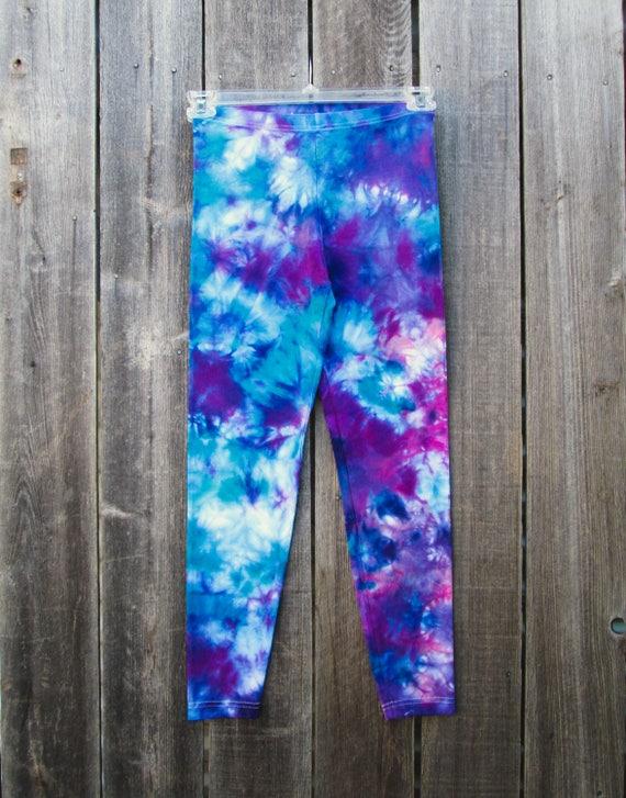 Tie Dye Leggings/Hand Dyed/Womens Tie Dye/Blue Green, Purple & Raspberry/Eco-Friendly Dying