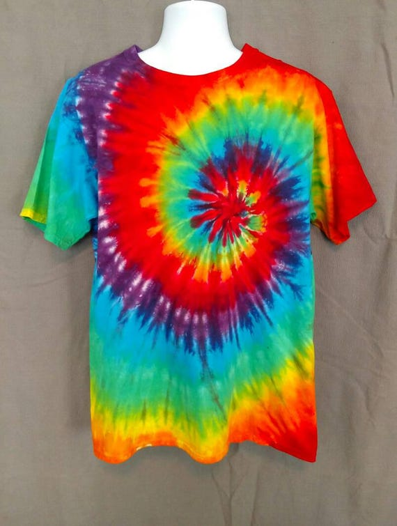 Rainbow Spiral Tie Dye Shirt/Adult Tie Dye T-Shirt/Hand Dyed/Eco-Friendly Dying