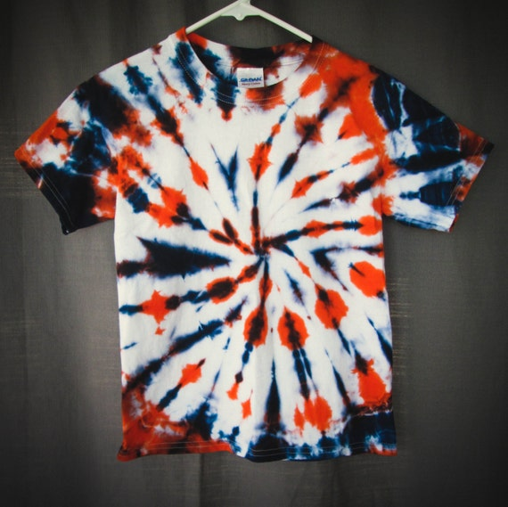 Hand Dyed Childrens Tie Dyed Clothing/Orange & Navy Blue Tie Dye