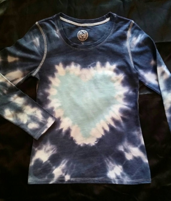 Valentines Day Gift for Her/Kids/Youth/Children/Daughter/Hand Dyed Blue Heart Tie Dye Long Sleeve Youth T-Shirt