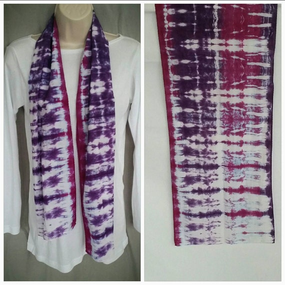 Hand Dyed Tie Dye Scarf in Raspberry & Power Berry/Womens Tie Dye/Eco-Friendly Dying