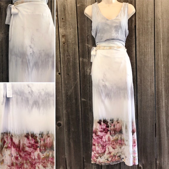 Hand Dyed Ice Dye Long Wrap Skirt/Women's Tie Dye Clothing/Silver & Shitake Mushroom Ice Dyed Tie Dye/Eco-Friendly Dying