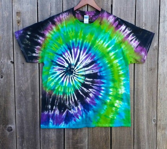 Spiral Tie Dye Shirt/Adult Tie Dye T-Shirt/Hand Dyed/Black, Lime, Turquoise,Purple & Raspberry/Eco-Friendly Dying