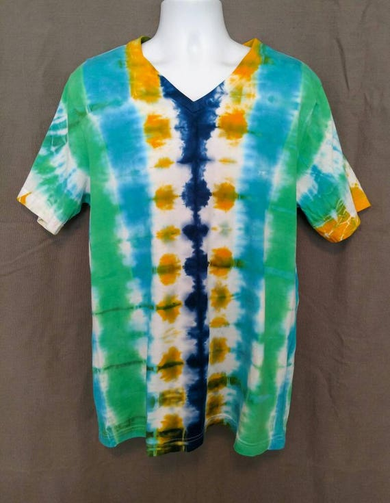 V-neck Tie Dye Shirt/Adult Tie Dye T-Shirt/Hand Dyed/Eco-Friendly Dying