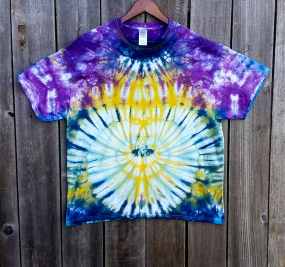Tie Dye Shirt/Adult Tie Dye T-Shirt/Hand Dyed/Yellow, Seafoam Green, Turquoise, Navy, Purple & Orchid/Eco-Friendly Dying