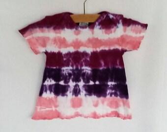 Hand Dyed Tie Dye/Pink, Raspberry, Purple Bullseye Design/Infant & Toddler/Eco-Friendly Dying