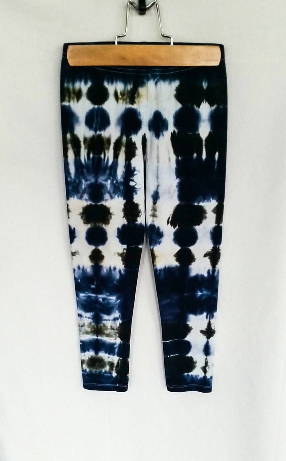 Tie Dye Leggings/Youth Leggings/Navy Blue and Black Tie Dye/Eco-Friendly Dying