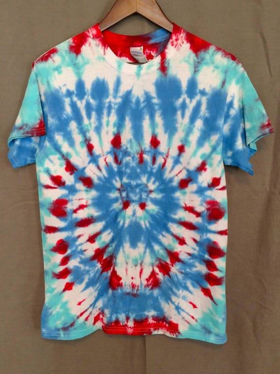 Tie Dye Shirt/Kids T-shirt/Short Sleeve/Red, Peacock Blue & Glacier Blue  Design/Eco-Friendly Dying