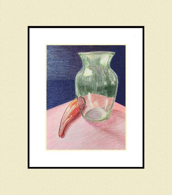 Original Art Still Life Studies Colored Pencil Vases And Etsy