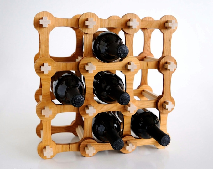 Plus+ Expandable Wine Rack, Solid Cherry Hardwood Bottle Holder