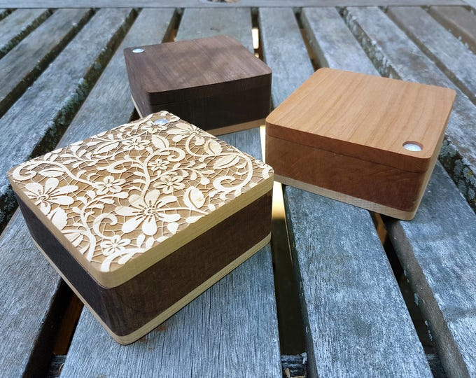 Spice boxes for salt with swivel lid and magnetic lock - Cherry and Walnut Hardwood