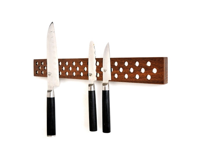 Contemporary Danish Design Inspired Magnetic Knife bar in Walnut. super strength neodymium magnets, holder, rack