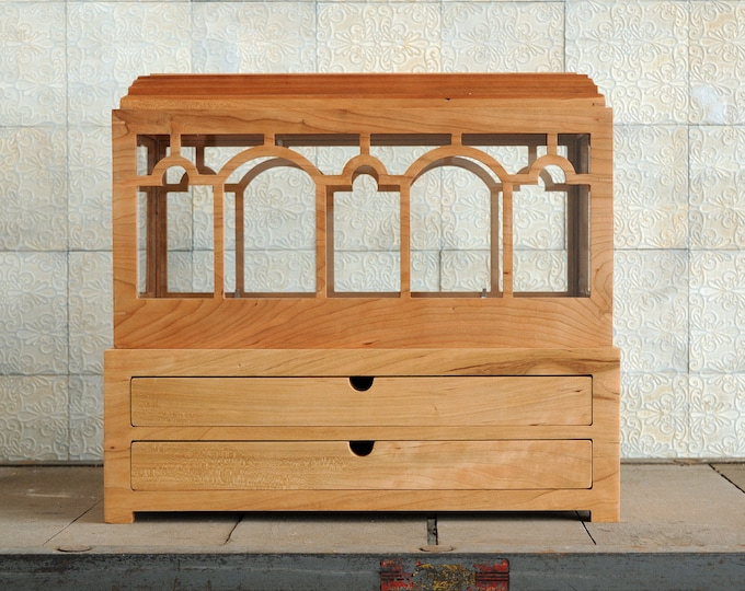 Solid Cherry Wardian Case with Drawer, Terrarium, Indoor Planter with 2 drawers ~ for plants, succulents, or herbs