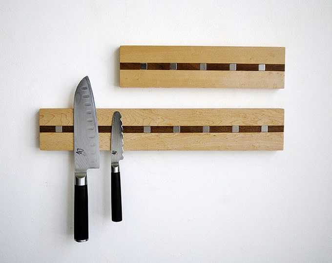 """Magnetic Knife Holder Rack, """"Rare Earth Neodymium Magnets"""" Hardwood Cutlery Hanger  - CONTEMPORARY MISSION STYLE"""