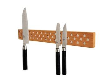 Contemporary Danish Design Inspired Magnetic Knife bar in Cherry. super strength neodymium magnets, holder, rack