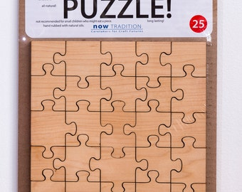 25 Piece PAINT-YOUR-OWN Wooden Handcrafted Puzzle for children and adults (responsible design)